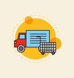 delivery truck market shopping cart vector image