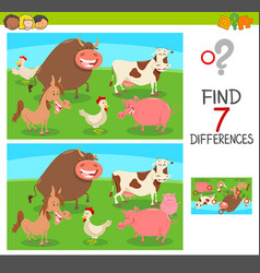 Differences game with farm animals vector