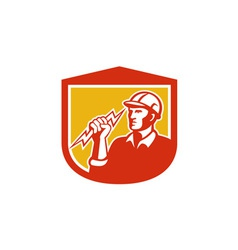 Electrician Clutching Lightning Bolt Shield vector image