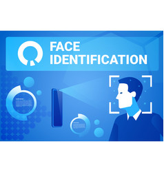 Face identification smart phone scan male face vector