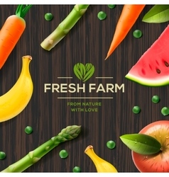 Farm label bio healthy food on wooden background vector image