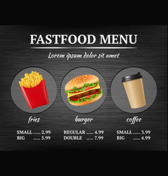 Fast food menu burger fries delicious restaurant vector