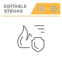 Fire insurance editable stroke line icon vector