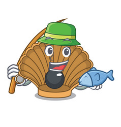 Fishing shell with pearl mascot cartoon vector