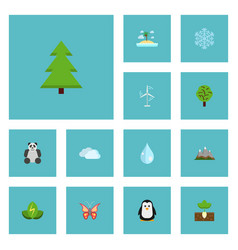 Flat icons landscape electric mill eco energy vector