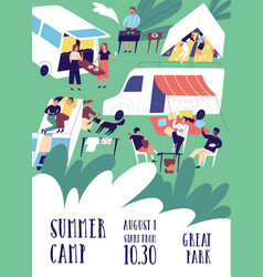 flyer or poster template for summer camp festival vector image