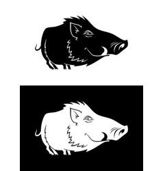funny boar silhouette vector image