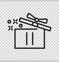 gift box icon in transparent style magic case on vector image