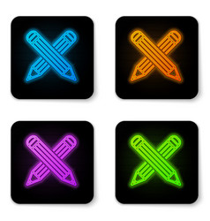 glowing neon crossed pencil icon isolated on vector image