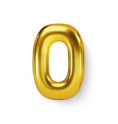 Golden number balloon 0 zero realistic 3d vector