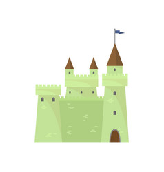 Green cute brick castle knights tower king vector