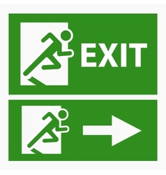 Green exit emergency sign on white vector