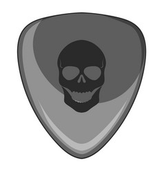 Guitar pick with a skul icon monochrome vector