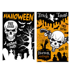 Halloween monster night party skull poster vector