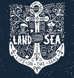 Hand drawn vintage label with an anchor on grunge vector image