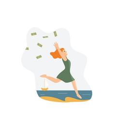 Happy rich wealthy woman throwing money in air vector