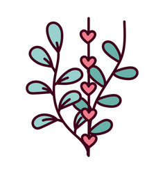 happy valentines day branches leaves foliage vector image