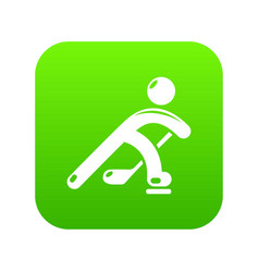 hockey player icon green vector image