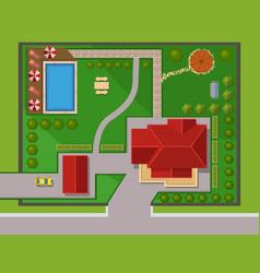 House landscape constructor urban townhouse vector