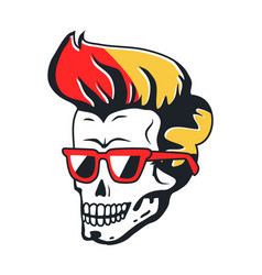 Human skull with sunglasses and color hairstyle vector