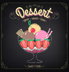 Ice cream dessert chalking freehand drawing vector