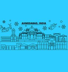 India ahmedabad winter holidays skyline merry vector
