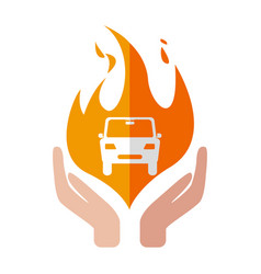 Insurance car icon fire design hand vector