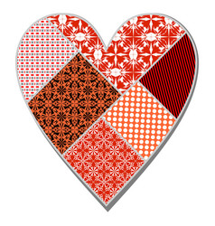 isolated heart in patchwork art design in red vector image