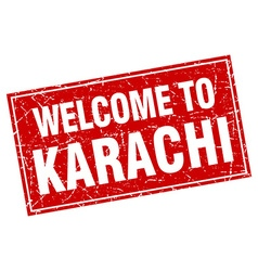 Karachi red square grunge welcome to stamp vector