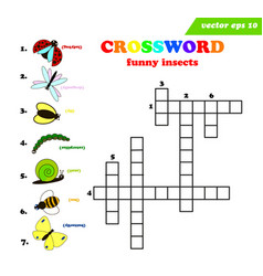 kids crossword with seven different funny insects vector image
