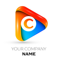 Letter c symbol in the colorful triangle vector