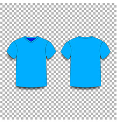 Light blue men s t-shirt template v-neck front vector