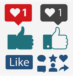like icon flat hand thumbs up and heart vector image