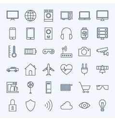 line internet things icons set vector image