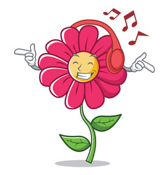 listening music pink flower character cartoon vector image