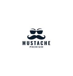 Long mustache face with sunglasses logo design vector