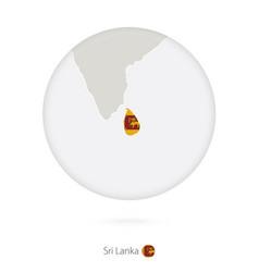 Map sri lanka and national flag in a circle vector