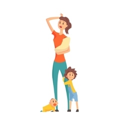 Mother With A Baby In Arms With Two Other Children vector