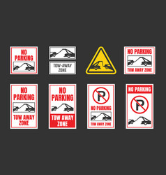 No parking tow away zone sign set vector