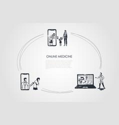 online medicine - people ordering medicine having vector image