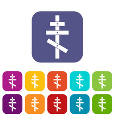 orthodox cross icons set vector image