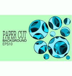 Papper cut banner with 3d abstract background vector