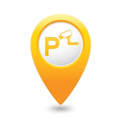 Parking under supervision icon map pointer yellow vector