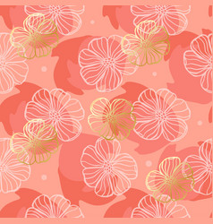 pattern doodle flowers on a coral background vector image