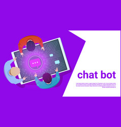 People at digital tablet use chat bot support vector