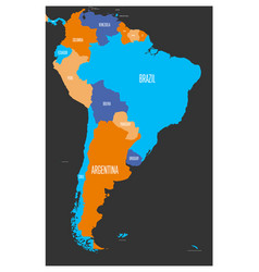 Political map of south america vector
