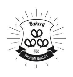 Pretzel bread shield ribbon bakery icon vector