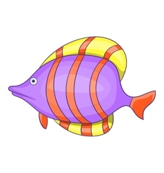 Purple fish with red stripe icon cartoon style vector image