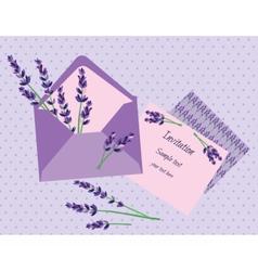 Purple lavender invitation card vector
