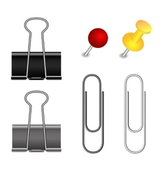 Pushpin binder and paper clip set vector image